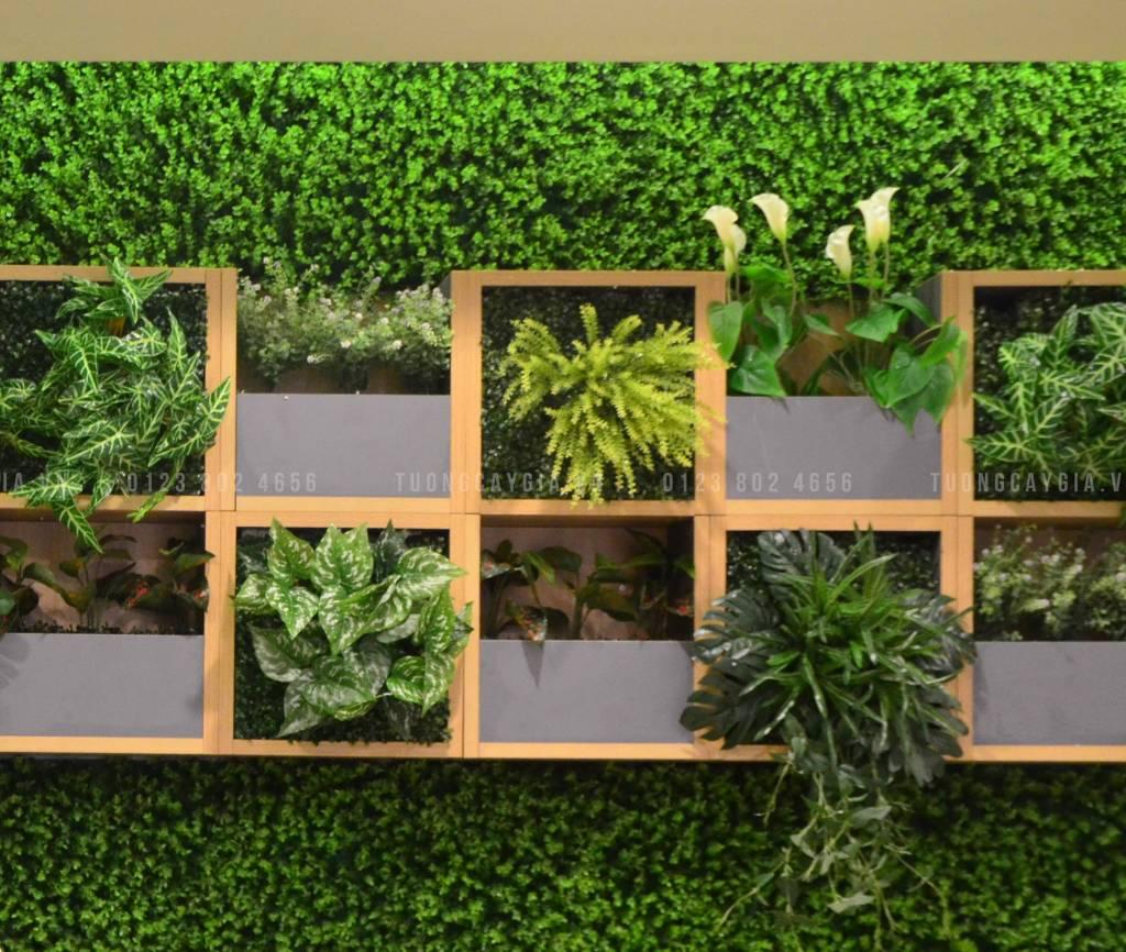 Vườn đứng, tường cỏ, cây giả hơn cả một bức tranh trang trí